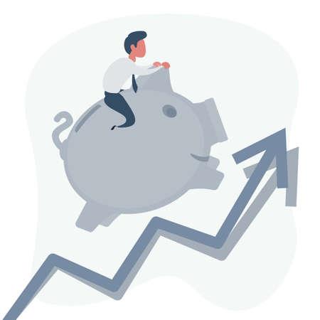 Illustration of businessman riding his piggy bank running upward on arrow graph Stock Illustratie