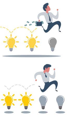 Brainstorming businessman turning lights on.