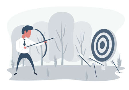 Businessman loser with archery. Not hit target, arrows around. Sad male character aiming target with bow and arrows. Unsuccessful entrepreneur. Failed investment. Flat illustration