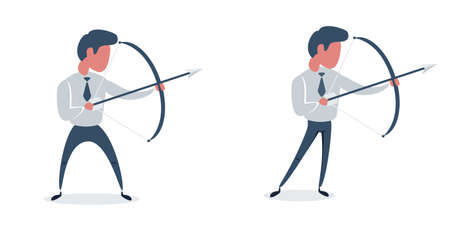 Full length portrait of a young businessman aiming with a bow and arrow isolated on white background. Set. Flat design illustration.