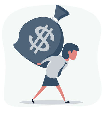 Young businesswoman carrying a full money sack with dollar currency symbol