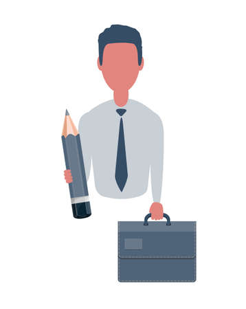 Businessman or clerk holding a suitcase and a pencil. Male character in simple style, flat illustration. Business concept.