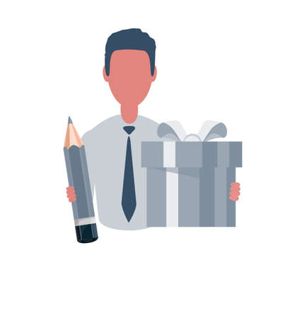 Businessman or clerk holding a gift box and a pencil. Male character in simple style, flat vector illustration. Business concept. Isolated on white background. Illustration