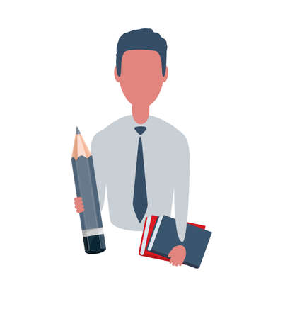 Businessman or clerk holding a textbooks and a pencil. Male character in simple style, flat illustration. Business concept.