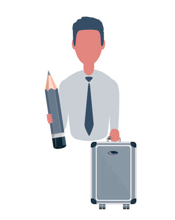 Businessman or clerk holding a briefcase and a pencil. Male character in simple style, flat vector illustration. Business concept. Isolated on white background.
