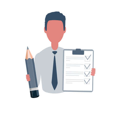 Businessman or clerk holding a questionnaire and a pencil. Male character in simple style, flat vector illustration. Business concept. Isolated on white background.
