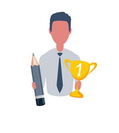 Businessman or clerk holding a winner cup and a pencil. Male character in simple style, flat vector illustration. Business concept.