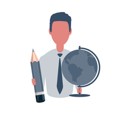 Businessman or clerk holding a globe and a pencil. Male character in simple style, flat vector illustration. Business concept. Illustration