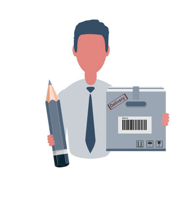 Businessman or clerk holding a cardboard box and a pencil. Male character in simple style, flat vector illustration. Business concept. Isolated on white background.