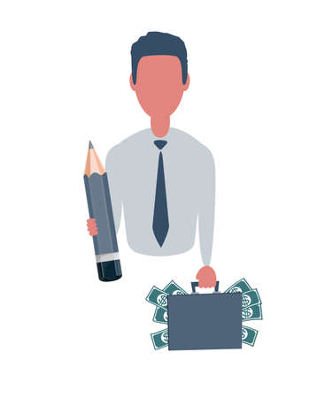 Business man or clerk holding a suitcase with money and a pencil. Male character in simple style, flat illustration. Business concept.