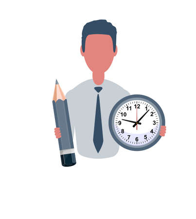 Businessman or clerk holding a clock and a pencil. Male character in simple style, flat illustration. Business concept.