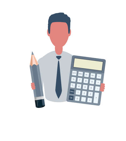 Businessman or clerk holding a calculator and a pencil. Male character in trendy simple style, flat vector illustration. Business concept. Isolated on white background.
