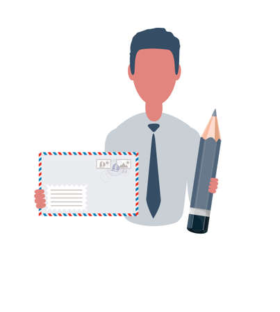 Businessman or clerk holding a envelope and a pencil. Male character in simple style, flat vector illustration. Business concept. Isolated on white background.