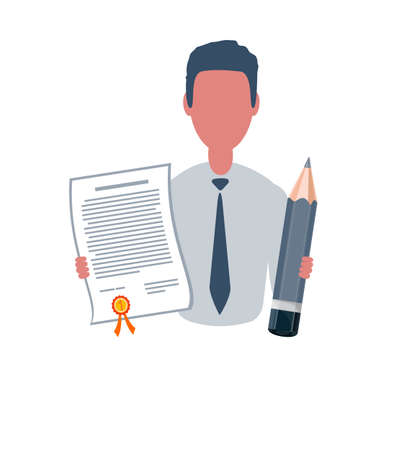 Businessman or clerk holding a winner certificate and a pencil. Male character in simple style, flat vector illustration. Business concept. Isolated on white background. Illustration