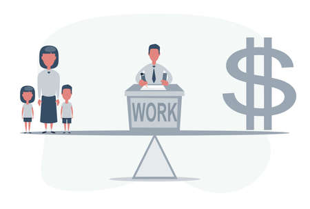 Simple cartoon of a man on a scale between dollar symbol and his family, balance between career and family concept 矢量图像