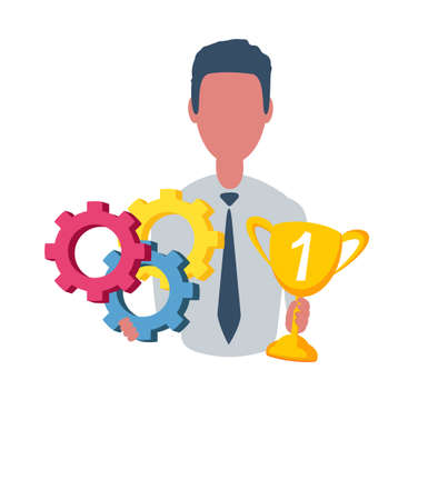 Businessman or clerk holding a winner cup and a gears. Male character in simple style, flat vector illustration. Business concept. Isolated on background.