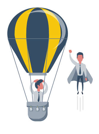Businessman superhero fly pass Businessman in hot air balloon. Business competition concept