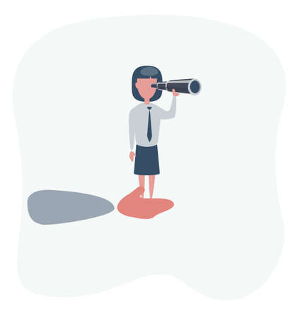 vector illustration of giant hand helping a businesswoman on top using telescope. describe planning and strategy business. business concept