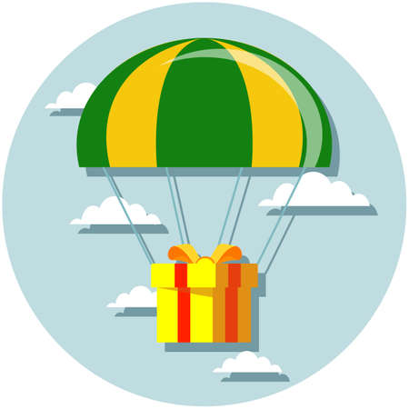 Flat design. Vector illustration. Delivery service. Parachute with parcel, gift in the sky. 矢量图像