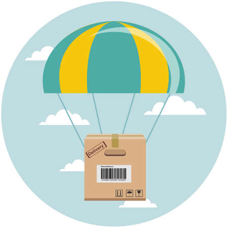 package flying down from sky with parachute, concept for delivery service