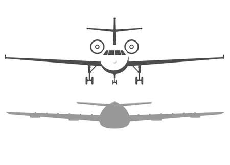 Airplane front view. Passenger or commercial jet isolated on background. Aircrfat in flat style.
