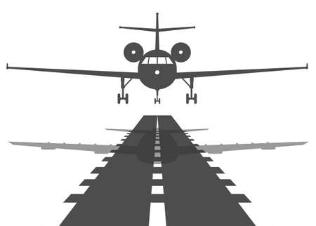 Passenger plane fly up over take-off runway from airport. Flat design illustration.