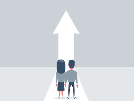 Family growth vector concept with man and woman walking towards upwards arrow. Symbol of success, promotion, career development.