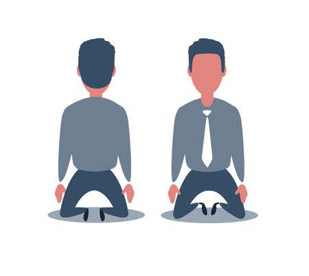 Business concept illustration of a businessman kneel down. Rear view. Business Fall Concept Illustration. Ilustración de vector