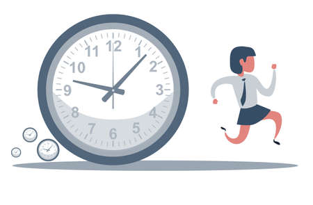 Concept of missing deadline, bad time management. Scene of tired, nervous, stressed female at work. Sad businesswoman running away from a big clock . Big fail.