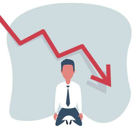 Sad Shocked Businessman Vector. Losing Money. Graph Going Down. Male Standing On His Knees.