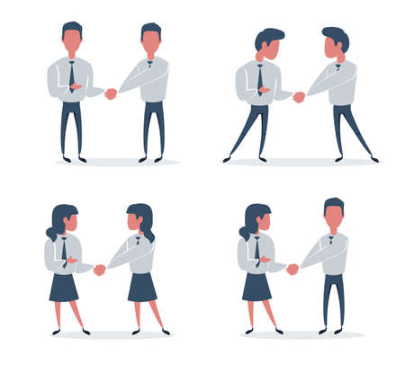 Businessman and businesswoman are shaking hands. Vettoriali