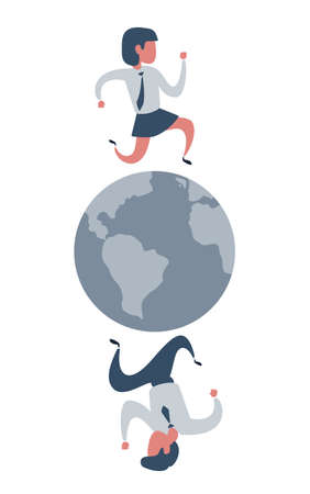 A busy people running on a globe. Vector illustration flat design