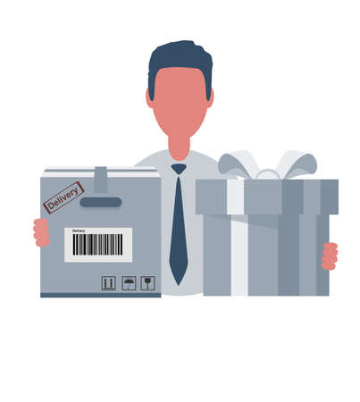 Businessman or clerk holding a cardboard box and a gift box. Male character in simple style with objects, flat vector illustration. Business concept.