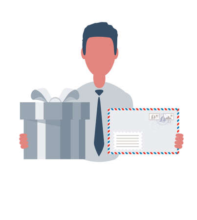 Businessman or clerk holding an envelope box and a gift box. Male character in simple style with objects, flat vector illustration. Business concept.