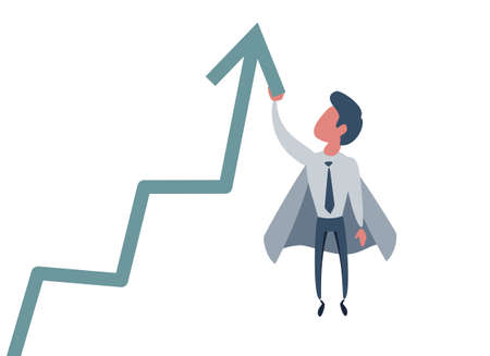 Business concept illustration of a superhero businessman taking the graphic chart high up Vettoriali