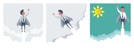 Superhero super successful businessman flying in the sky. Success growth business concept. Vettoriali