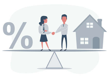 Business partners shaking hands as a symbol of unity. People standing on seesaw. Man buys a house.