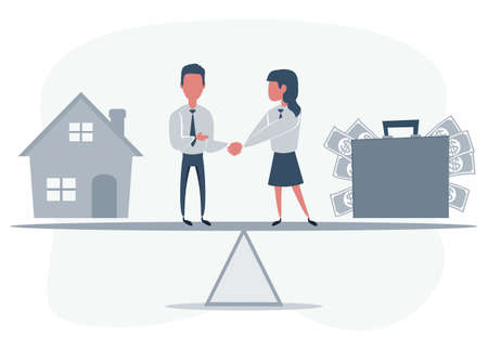 Business partners shaking hands as a symbol of unity. People standing on seesaw. Woman selling house.