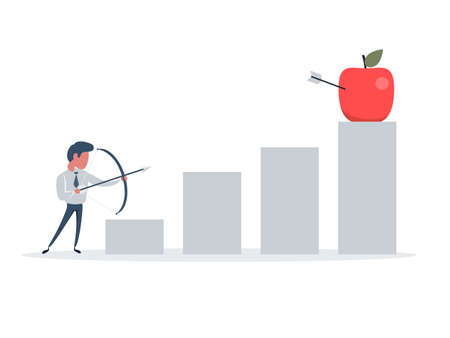 A businessman hit by an arrow in an apple. Shooting from a bow and arrow, this is a sign of progress in increasing business sales. Growing business concept.