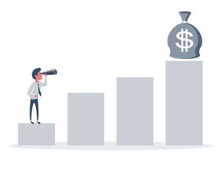 A man holding a telescope and seeing a money. Improvement concept.