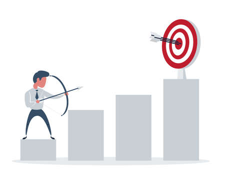 Businessman shooting a bow and arrow, it is a sign of progress a business sales is going up. Growing business concept.