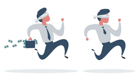 A blindfold businessman running with briefcase, business, energetic, dynamic concept