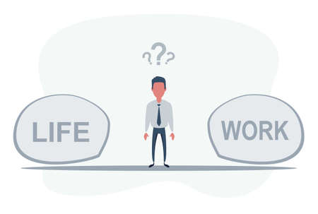 Man Standing in the middle between life and work. Work and Life balance concept.