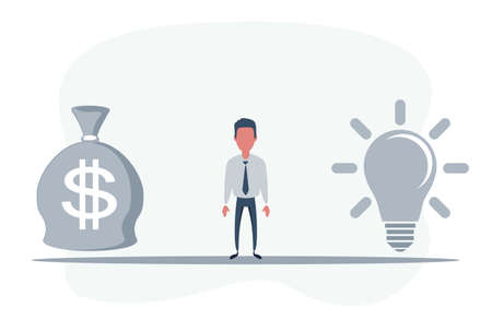 Man Standing in the middle between Idea Lightbulb and money bag. Idea or money. Business concept.