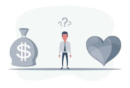 Man Standing in the middle between heart and money bag. Work and Life balance concept. Businessman standing on seesaw.
