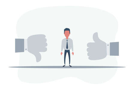 Man Standing in the middle between Thumbs up and Thumbs down. like and dislike concept.