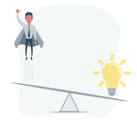 Business startup concept. Vector illustration with a businessman flying high up and a lightbulb. Vettoriali