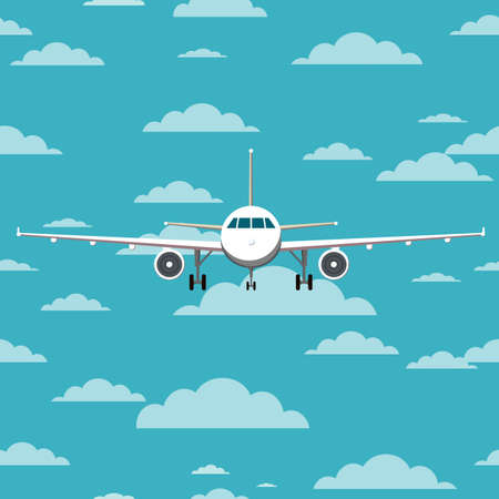 Airplane front view. Blue sky with clouds. Flat vector illustration.