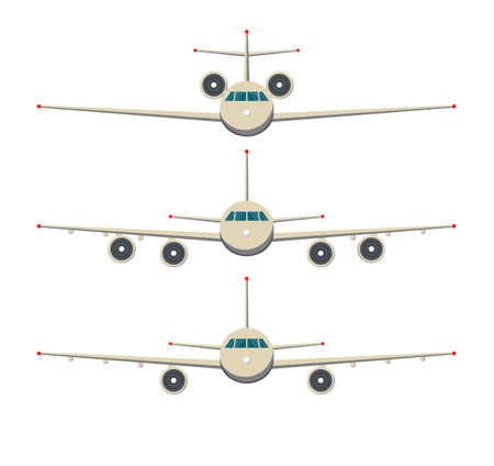 Airplane front view. Passenger or commercial jet isolated on background. Aircrfat in flat style. Set. Vettoriali