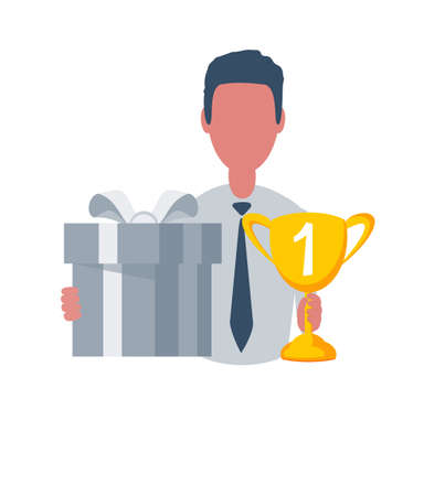 Businessman or clerk holding a winner cup and a gift box. Male character in simple style with objects, flat vector illustration. Isolated on white background.